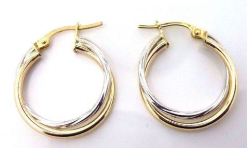 9ct Yellow and White Gold Two Colour  Hoop Earrings